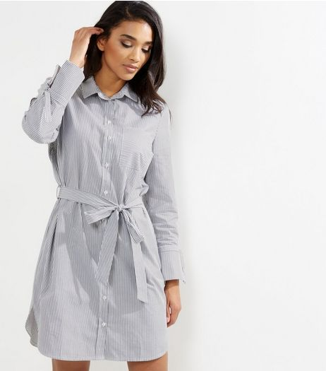 White Stripe Tie Waist Long Sleeve Shirt Dress | New Look