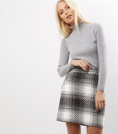 Black Check Brushed Mini Skirt  | New Look