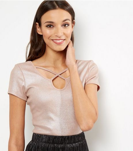 Mid Pink Metallic Ribbed Cross Strap Front Top | New Look
