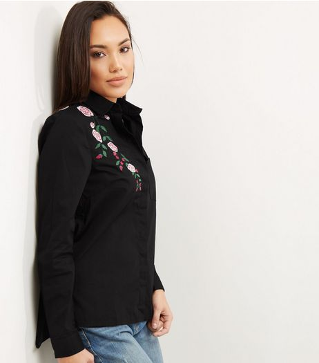 Black Floral Embroidered Long Sleeve Shirt  | New Look
