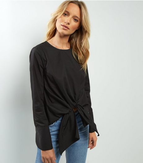 Black Tie Front Long Sleeve Top | New Look