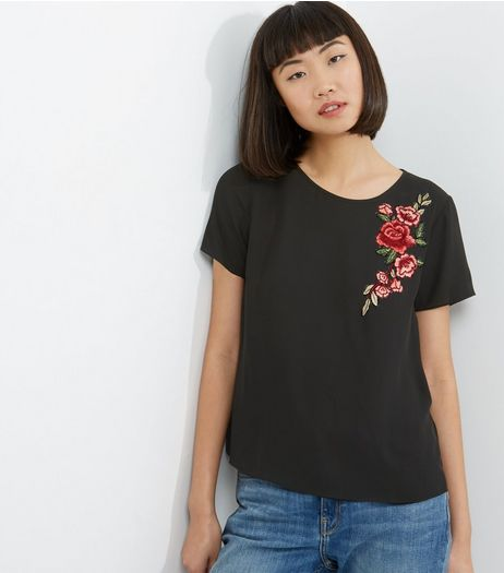 Black Floral Embroided T-Shirt | New Look