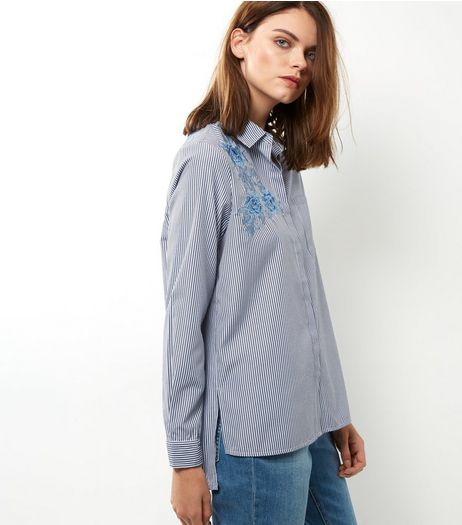 Blue Floral Embroidered Stripe Shirt | New Look