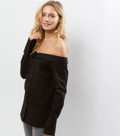Black Bardot Neck Long Sleeve Shirt  | New Look