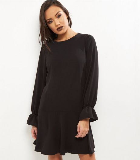 Black Bell Sleeve Peplum Hem Dress | New Look