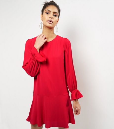 Red Bell Sleeve Peplum Hem Dress | New Look