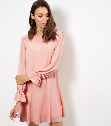 Mid Pink Bell Sleeve Peplum Hem Dress | New Look