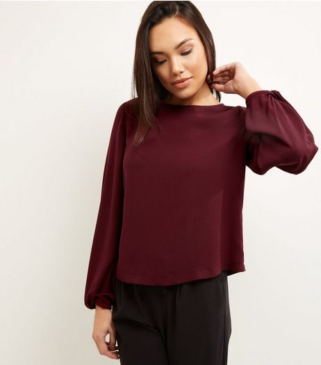 Burgundy Twist Cuff Long Sleeve Top  | New Look