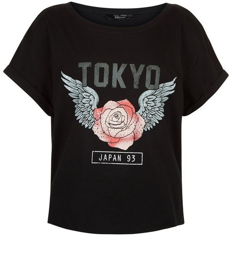Teens Black Tokyo Rose Print Crop T-shirt | New Look