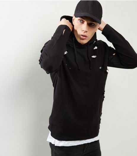 Black Extreme Ripped Hoodie  | New Look