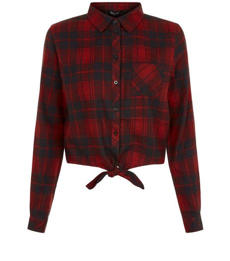 Teens Red Check Tie Front Shirt | New Look