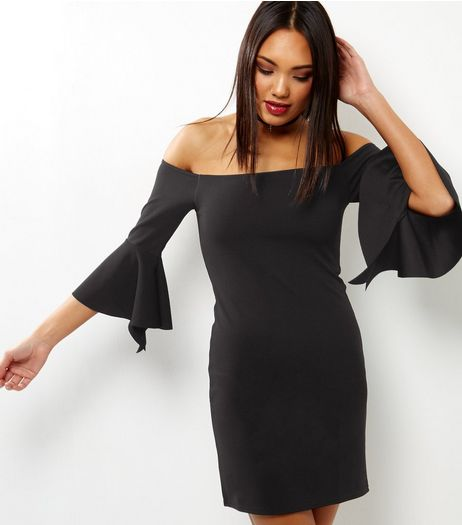 Loving This Black Bardot Neck Bell Sleeve Dress | New Look