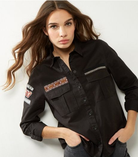 Black Embroidered Trim Military Shirt  | New Look