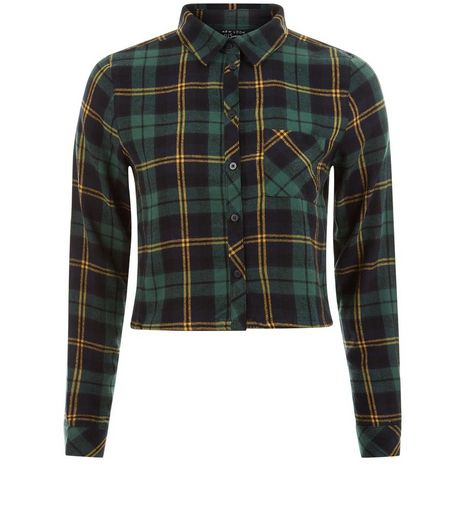Teens Green Check Cropped Shirt | New Look
