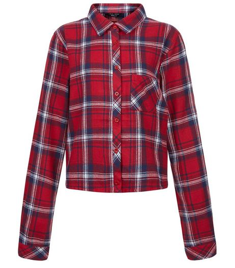 Teens Red Check Cropped Shirt | New Look