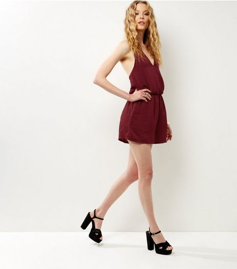 Influence Burgundy Halter Neck Wrap Front Playsuit  | New Look