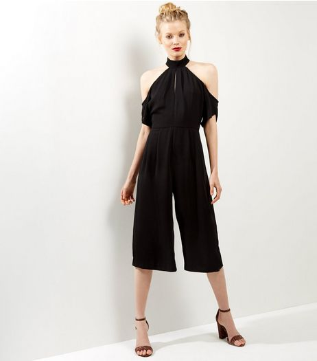 Influence Black Cold Shoulder Funnel Neck Jumpsuit  | New Look