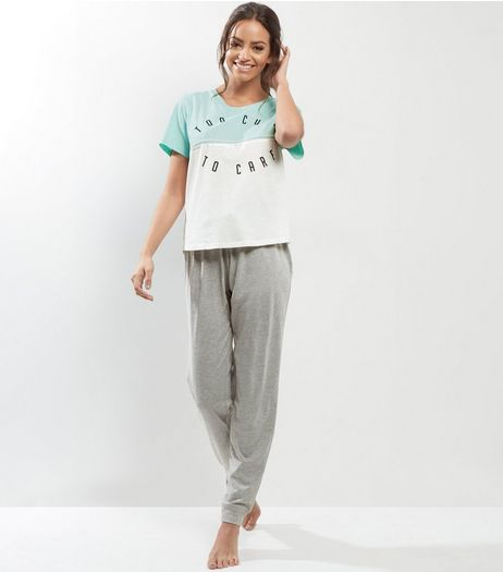 Petite Mint Green Too Cute To Care Pyjama Set | New Look