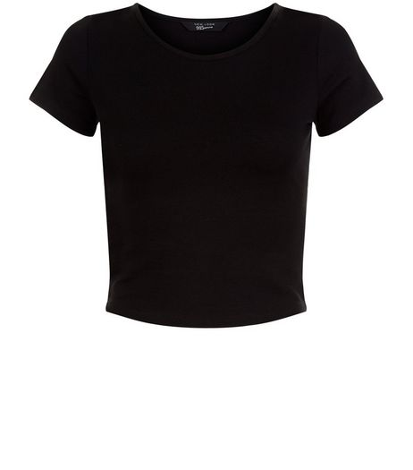 Teens Black Cropped T-shirt | New Look