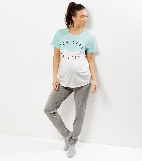 Maternity Mint Green Too Cute To Care Pyjama Set | New Look