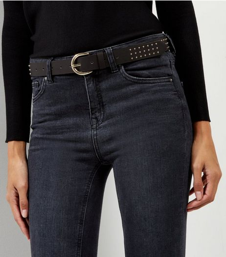 Black Pin Stud Jeans Belt | New Look