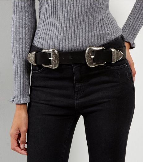 Black Double Buckle Western Jeans Belt | New Look