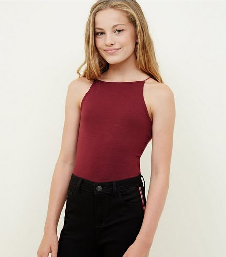 Teens Burgundy High Neck Cami | New Look
