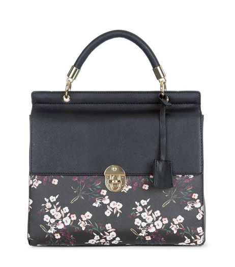 Black Floral Print Tote Bag | New Look