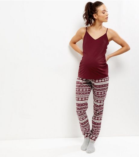 Maternity Burgundy Fairisle Pyjama Set | New Look
