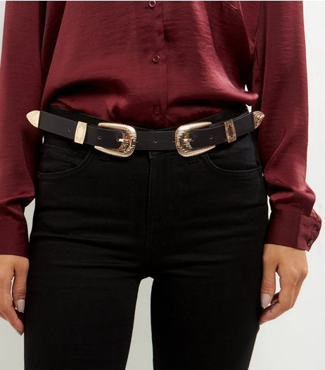 Black Deco Buckle Belt | New Look
