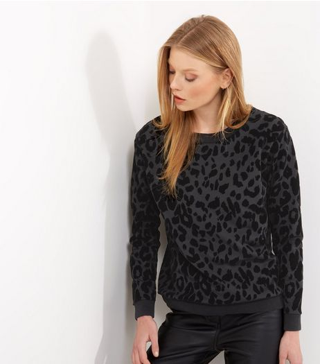 Carpe Diem Black Flocked Leopard Print Jumper | New Look