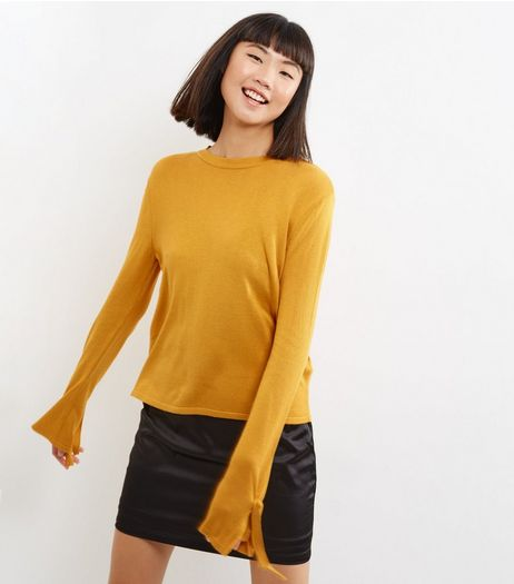 Yellow Tie Sleeve Jumper | New Look