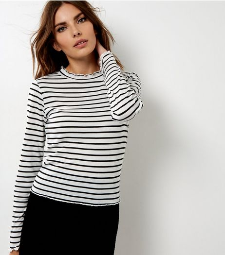 Black Stripe Funnel Neck Long Sleeve Top  | New Look