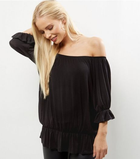 Carpe Diem Black Bell Sleeve Bardot Neck Top  | New Look