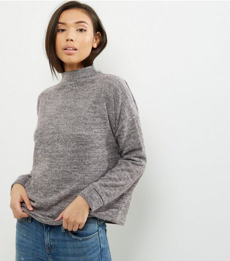 Black Stripe Funnel Neck Sweater  | New Look