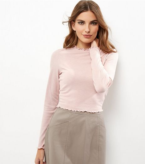 Pink Frill Trim Funnel Neck Long Sleeve Top  | New Look