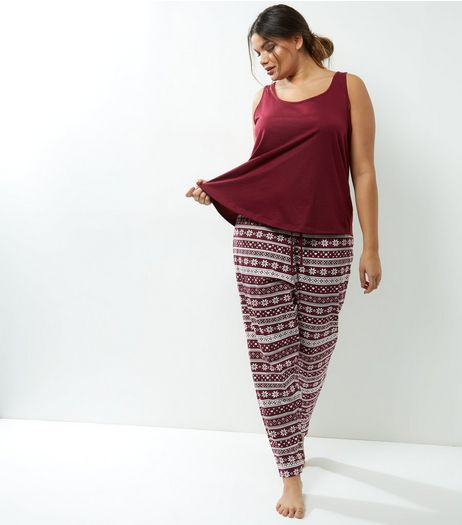 Curves Burgundy Fairisle Pyjama Set | New Look