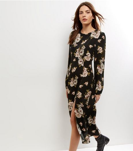 Black Floral Print Split Side Midi Dress | New Look