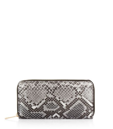 Black Metallic Snakeskin Texture Purse | New Look