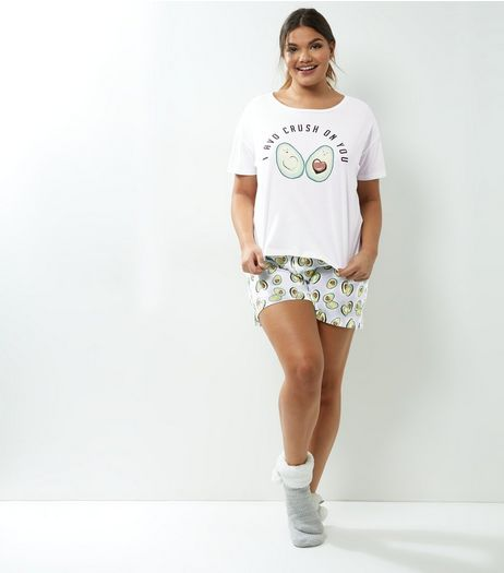 Curves Green Avocado Print Pyjama Set | New Look