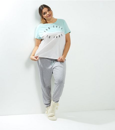 Curves Mint Green Too Cute To Care Pyjama Set | New Look
