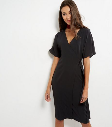 Black Wrap Front Cut Out Flutter Sleeve Midi Dress | New Look