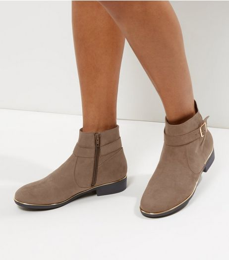 Wide Fit Light Brown Suedette Metallic Trim Ankle Boots | New Look