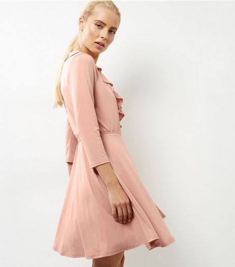 Mid Pink Frill Trim Wrap Front Dress | New Look