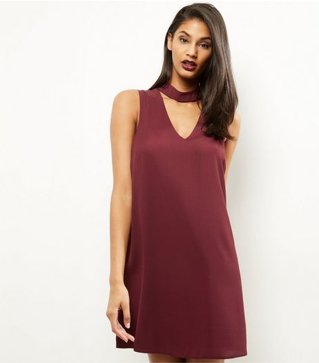 Burgundy Choker Neck Tunic Dress | New Look