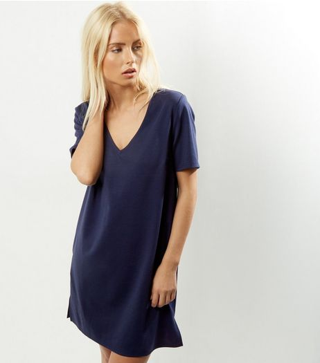 Navy V Neck Short Sleeve Tunic Dress | New Look