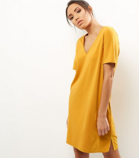 Yellow V Neck Short Sleeve Tunic Dress | New Look