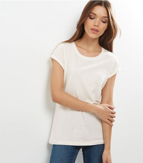 Tall Cream Rolled Sleeve T-shirt | New Look