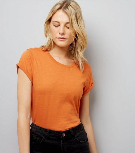 Tall Orange Rolled Sleeve T-Shirt | New Look