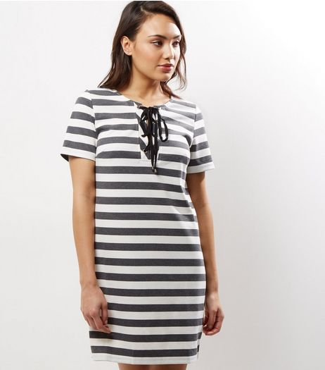 Black Stripe Lattice Front T-Shirt Dress | New Look